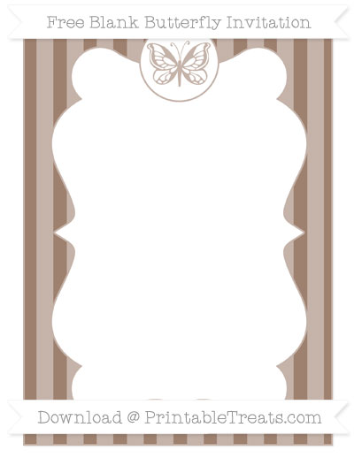 Free Beaver Brown Striped Blank Butterfly Invitation