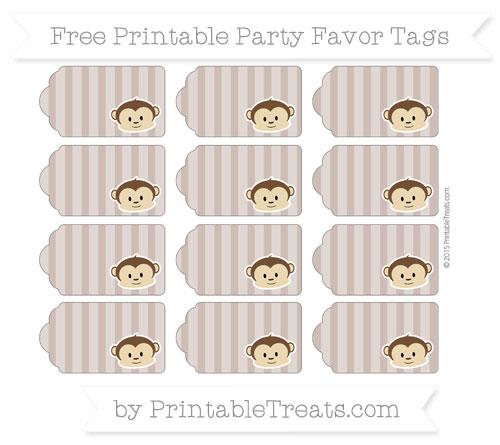 Free Beaver Brown Striped Boy Monkey Party Favor Tags