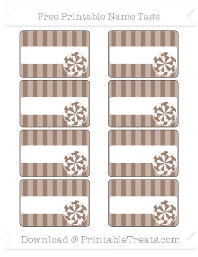Free Beaver Brown Striped Cheer Pom Pom Tags