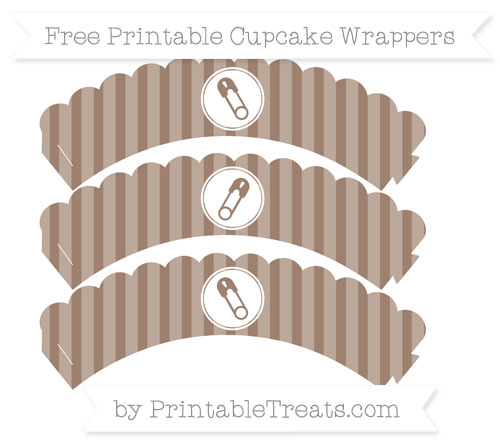 Free Beaver Brown Striped Diaper Pin Scalloped Cupcake Wrappers