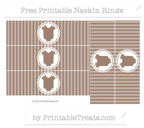 Free Beaver Brown Thin Striped Pattern Baby Onesie Napkin Rings