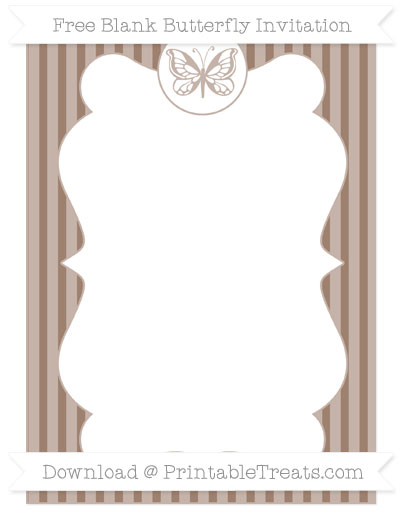 Free Beaver Brown Thin Striped Pattern Blank Butterfly Invitation