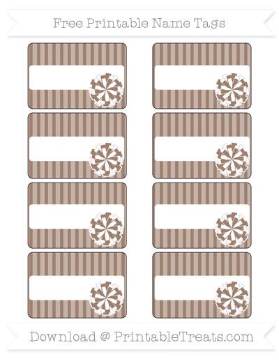 Free Beaver Brown Thin Striped Pattern Cheer Pom Pom Tags