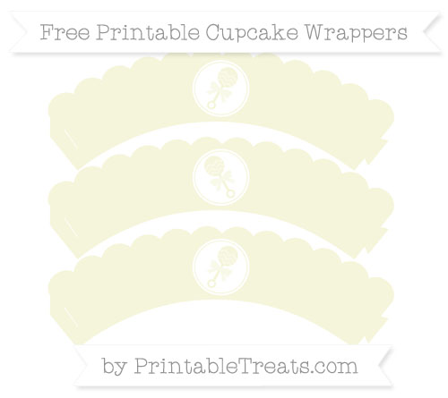 Free Beige Baby Rattle Scalloped Cupcake Wrappers
