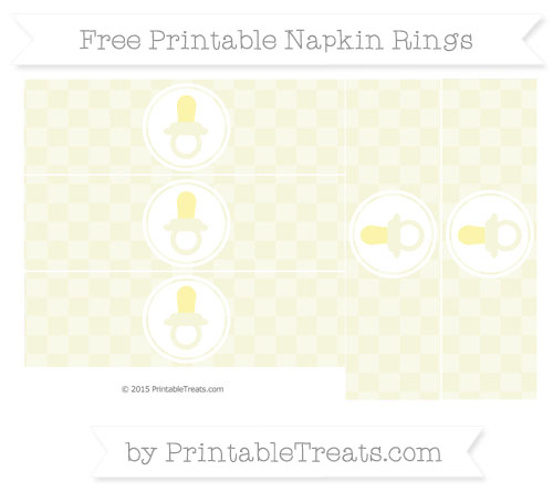 Free Beige Checker Pattern Baby Pacifier Napkin Rings