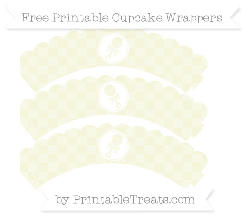 Free Beige Checker Pattern Baby Rattle Scalloped Cupcake Wrappers
