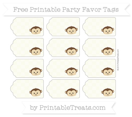 Free Beige Checker Pattern Boy Monkey Party Favor Tags