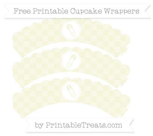 Free Beige Checker Pattern Diaper Pin Scalloped Cupcake Wrappers