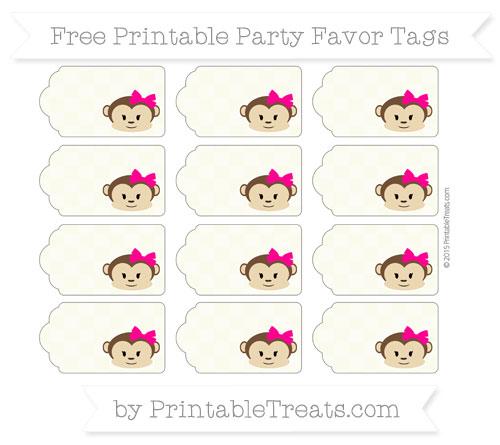Free Beige Checker Pattern Girl Monkey Party Favor Tags