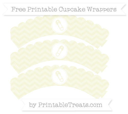 Free Beige Chevron Diaper Pin Scalloped Cupcake Wrappers