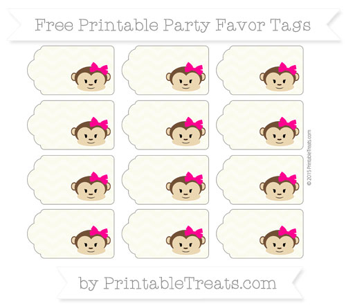 Free Beige Chevron Girl Monkey Party Favor Tags
