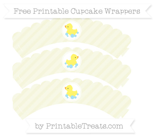 Free Beige Diagonal Striped Baby Duck Scalloped Cupcake Wrappers