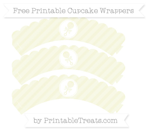 Free Beige Diagonal Striped Baby Rattle Scalloped Cupcake Wrappers