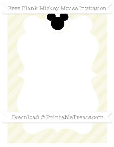Free Beige Diagonal Striped Blank Mickey Mouse Invitation