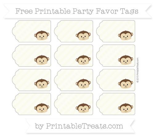 Free Beige Diagonal Striped Boy Monkey Party Favor Tags