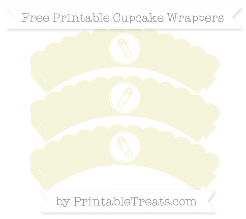 Free Beige Diaper Pin Scalloped Cupcake Wrappers