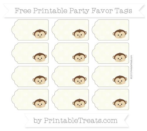 Free Beige Dotted Pattern Boy Monkey Party Favor Tags