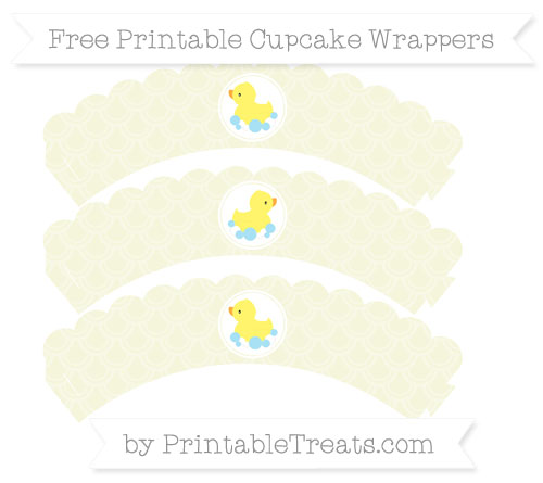 Free Beige Fish Scale Pattern Baby Duck Scalloped Cupcake Wrappers