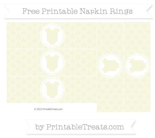 Free Beige Fish Scale Pattern Baby Onesie Napkin Rings