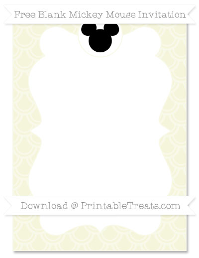 Free Beige Fish Scale Pattern Blank Mickey Mouse Invitation