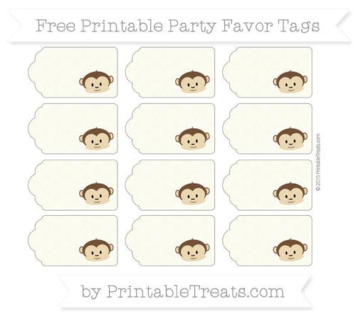 Free Beige Fish Scale Pattern Boy Monkey Party Favor Tags