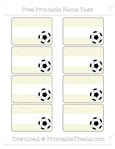 Free Beige Fish Scale Pattern Soccer Name Tags