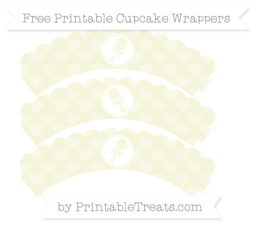 Free Beige Heart Pattern Baby Rattle Scalloped Cupcake Wrappers