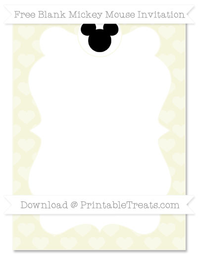 Free Beige Heart Pattern Blank Mickey Mouse Invitation