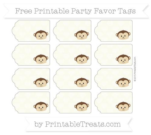 Free Beige Heart Pattern Boy Monkey Party Favor Tags