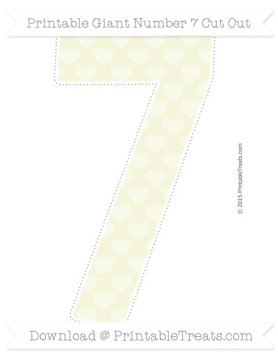 Free Beige Heart Pattern Giant Number 7 Cut Out