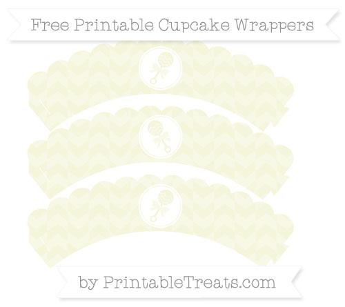 Free Beige Herringbone Pattern Baby Rattle Scalloped Cupcake Wrappers