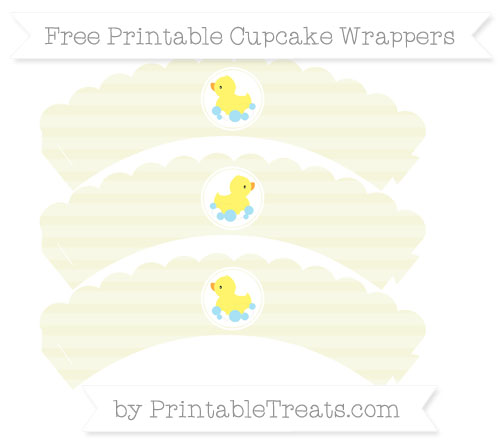 Free Beige Horizontal Striped Baby Duck Scalloped Cupcake Wrappers