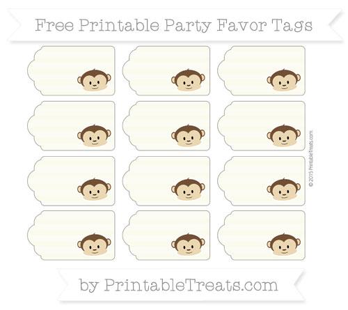 Free Beige Horizontal Striped Boy Monkey Party Favor Tags