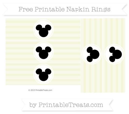 Free Beige Horizontal Striped Mickey Mouse Napkin Rings