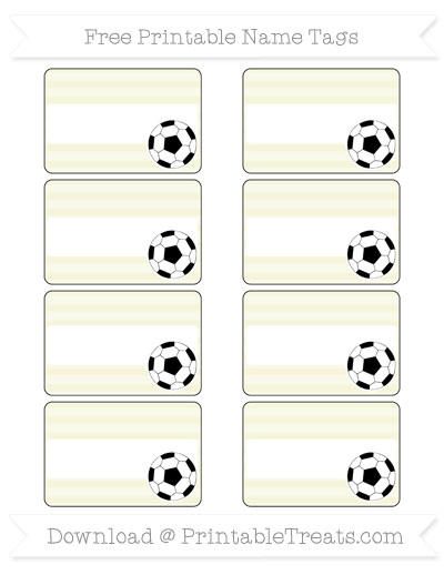 Free Beige Horizontal Striped Soccer Name Tags