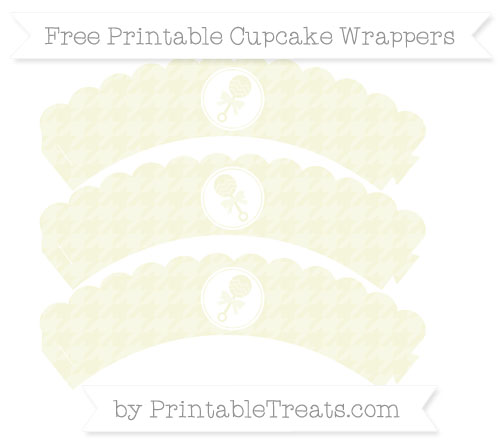 Free Beige Houndstooth Pattern Baby Rattle Scalloped Cupcake Wrappers