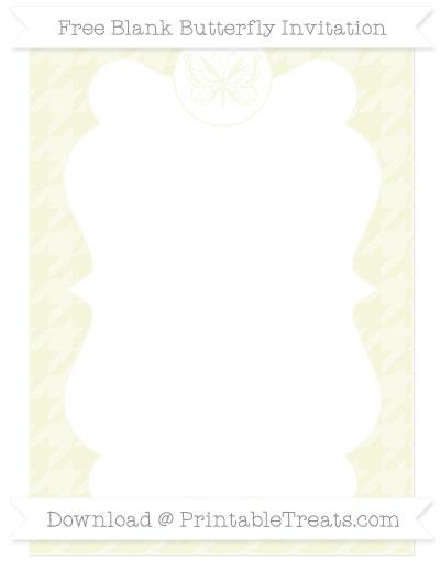 Free Beige Houndstooth Pattern Blank Butterfly Invitation