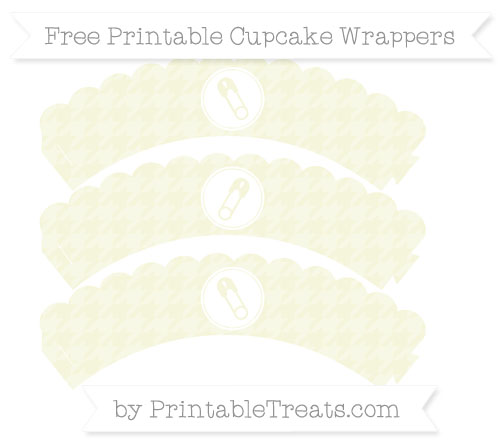 Free Beige Houndstooth Pattern Diaper Pin Scalloped Cupcake Wrappers