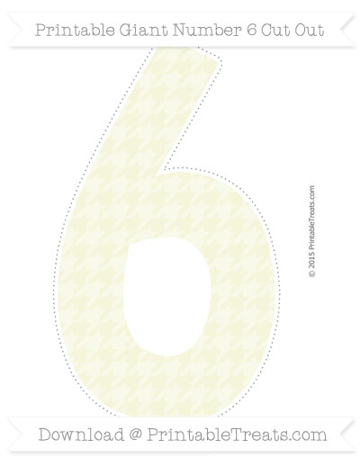Free Beige Houndstooth Pattern Giant Number 6 Cut Out