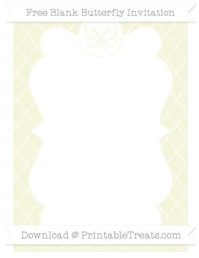 Free Beige Moroccan Tile Blank Butterfly Invitation