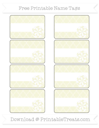 Free Beige Moroccan Tile Cheer Pom Pom Tags