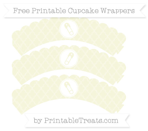 Free Beige Moroccan Tile Diaper Pin Scalloped Cupcake Wrappers