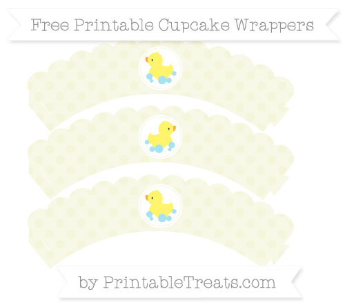 Free Beige Polka Dot Baby Duck Scalloped Cupcake Wrappers