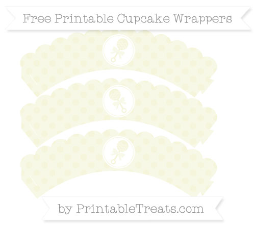Free Beige Polka Dot Baby Rattle Scalloped Cupcake Wrappers