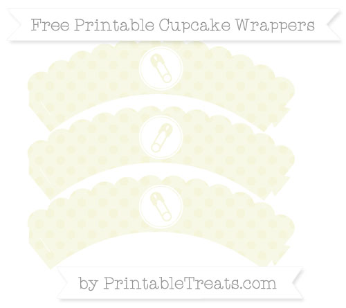 Free Beige Polka Dot Diaper Pin Scalloped Cupcake Wrappers
