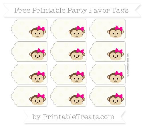 Free Beige Polka Dot Girl Monkey Party Favor Tags