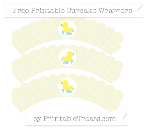 Free Beige Quatrefoil Pattern Baby Duck Scalloped Cupcake Wrappers