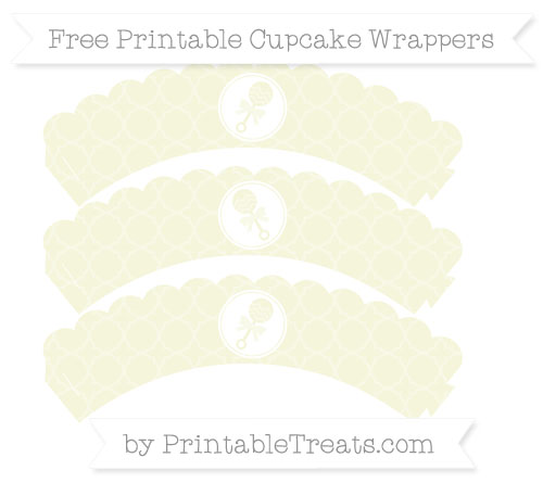 Free Beige Quatrefoil Pattern Baby Rattle Scalloped Cupcake Wrappers