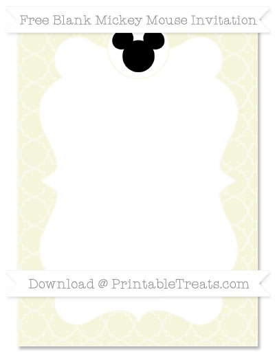 Free Beige Quatrefoil Pattern Blank Mickey Mouse Invitation
