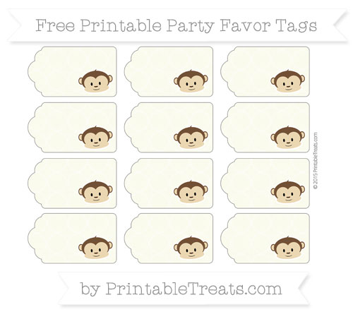Free Beige Quatrefoil Pattern Boy Monkey Party Favor Tags